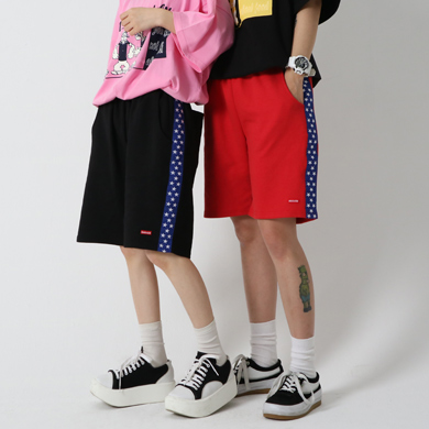 (unisex) star tape harf-pants