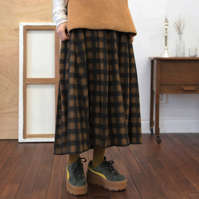 squre check bading skirt - 2color