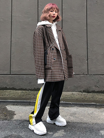 [unisex] london check over jacket - 2color
