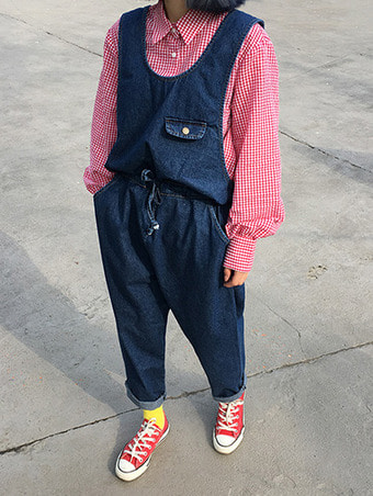 riversible denim overall pants - 2color