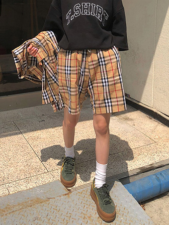 [unisex] nova check banding shorts - 2color