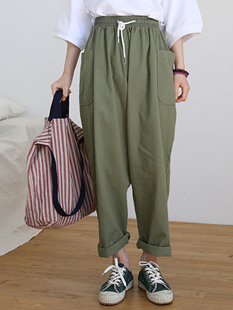 pocket string pants / 3color