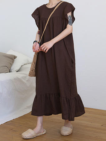 ruffle long dress / 3color