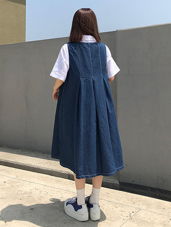 denim pleats ops / 2color