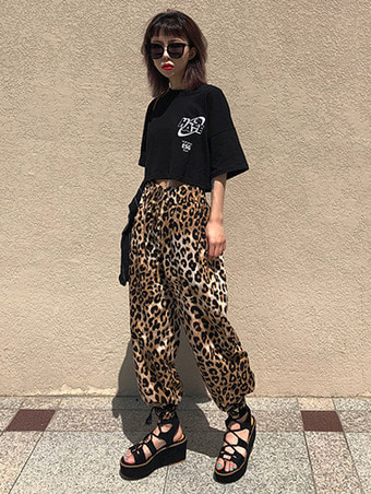 leopard wide pants / FREE