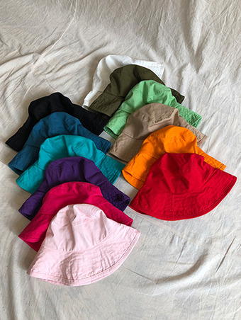 big color bucket hat / 12color