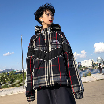 [unisex] check wind breaker / 2color