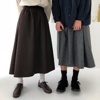 wool flare bading skirt / 2color