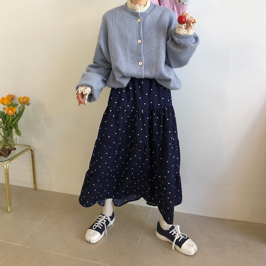 dot can can skirt / 2color