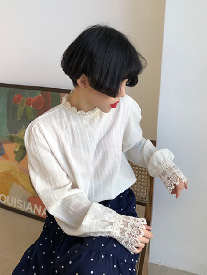 cotton lace blouse / 2color