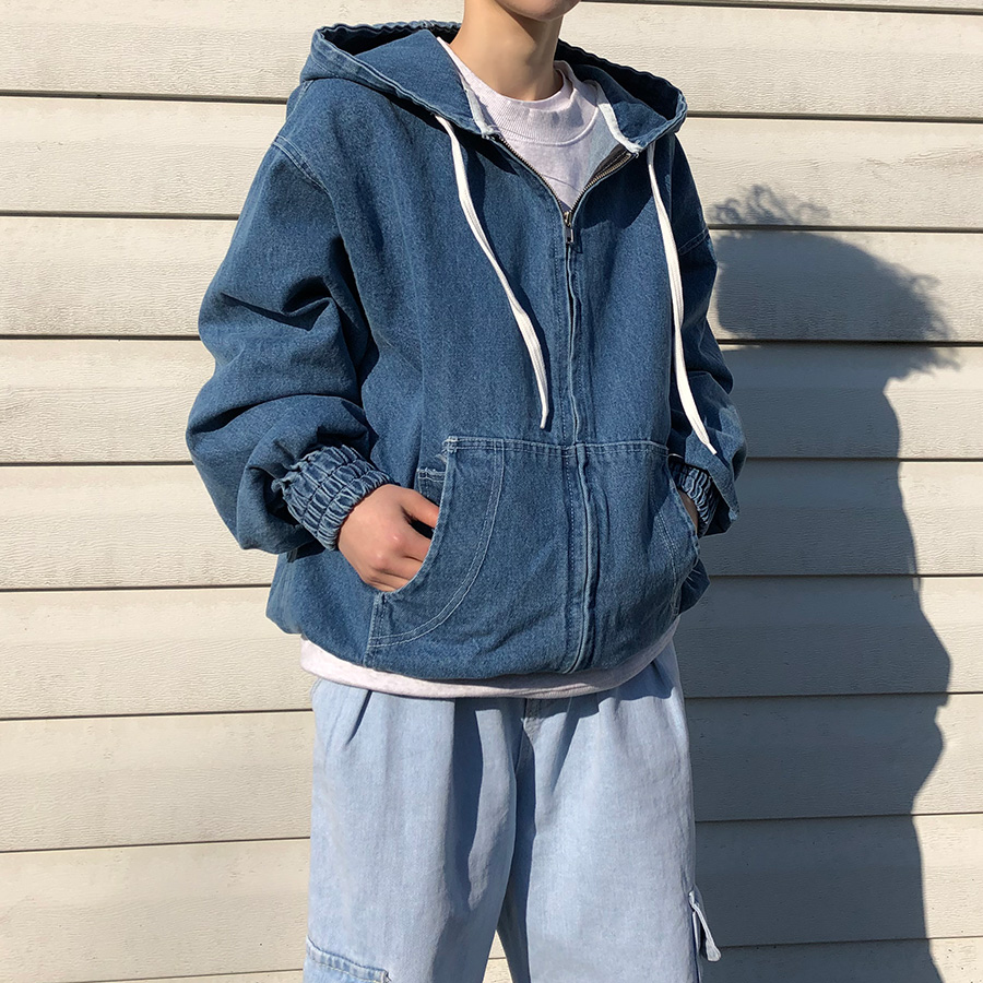 Denim hood zipup / 2color