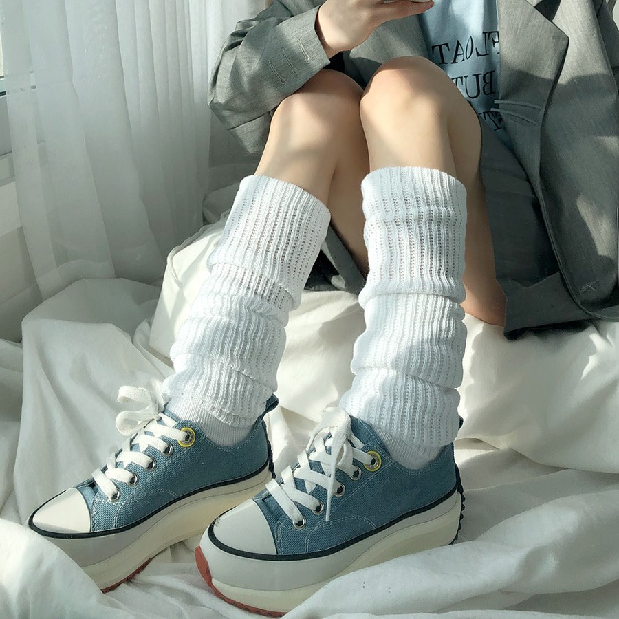 [nyeongcloset] knit long loose socks / 2color