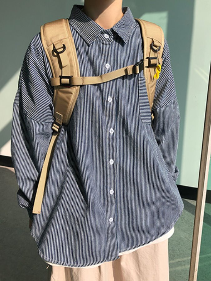 [한정수량] stripe pocket shirts
