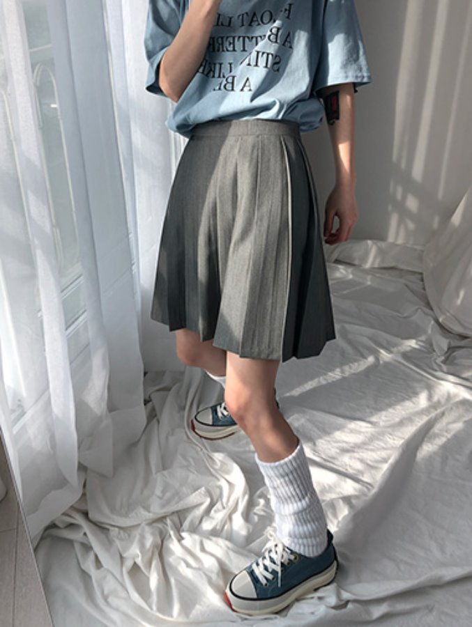 [best] casual pleats skirt / 2color