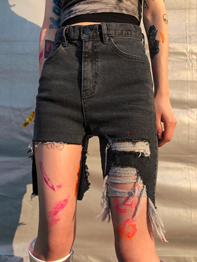 unique damage denim P / 2color
