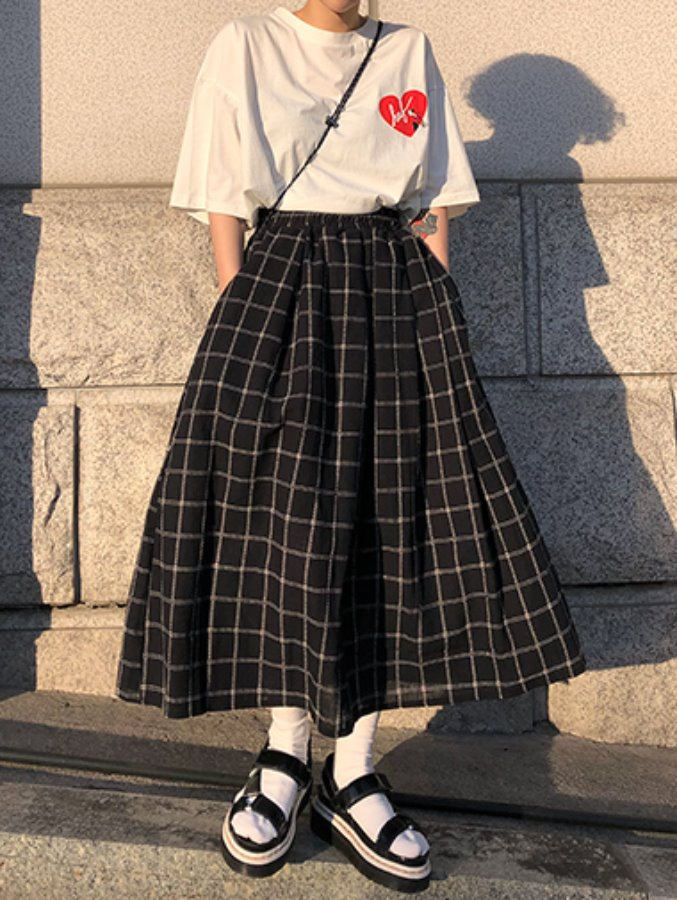 squre stitch banding skirt / 2color