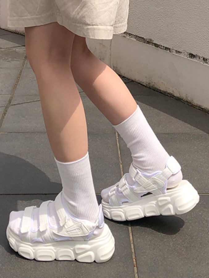 [검240당일발송] block platform sandal / 2color
