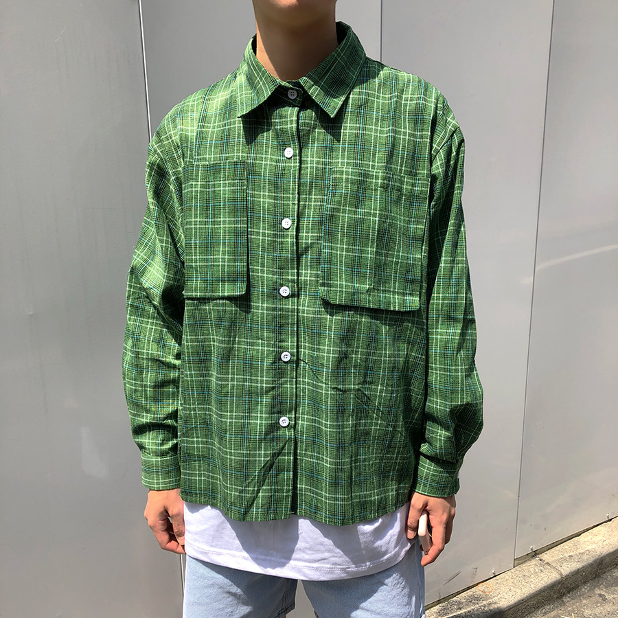 [한정수량] green check shirts