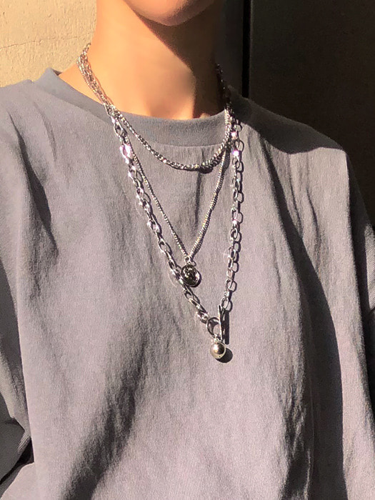 Coin & chain layered necklace