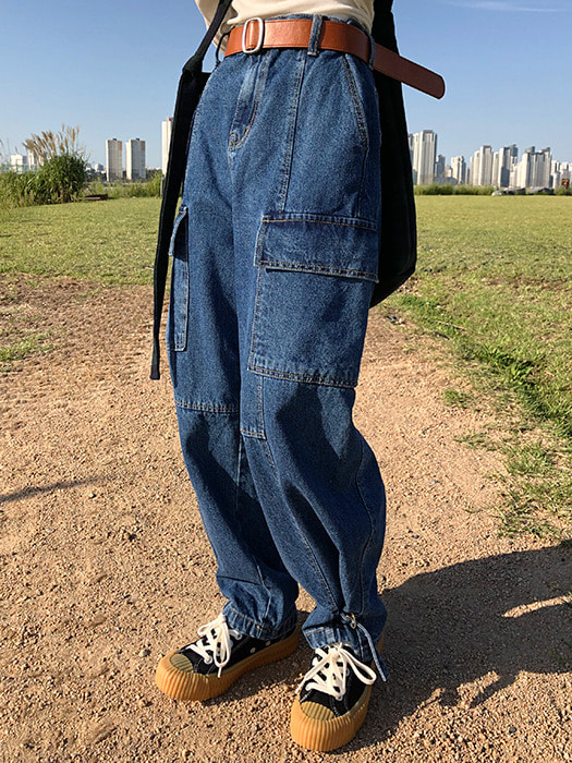 Work cargo denim pants
