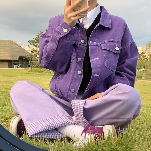 [한정수량] Purple trucker jacket