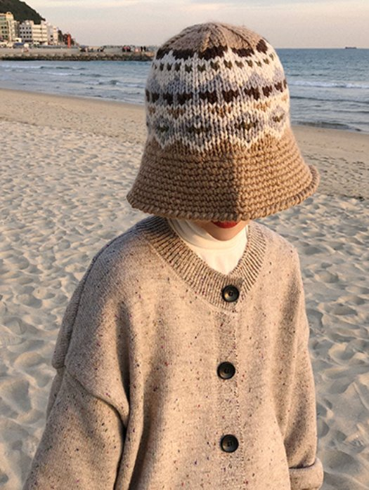 Ethnic knit bucket hat /4color