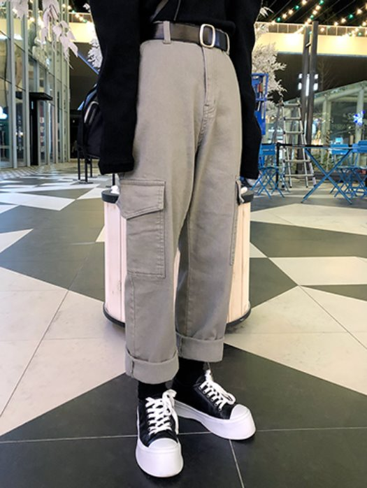 Warm cargo straight pants / 2color