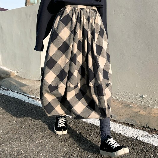 Gingham check Pumkin skirts / 2color