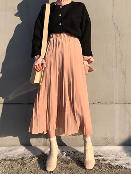 Chiffon pleats skirt / 3color
