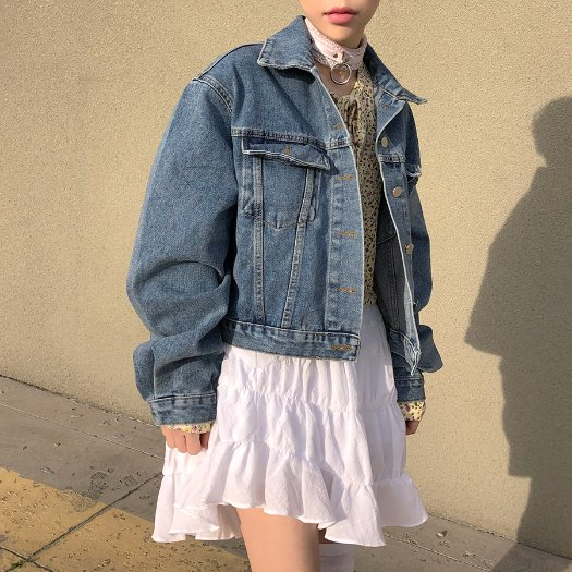 Daily denim short jacket