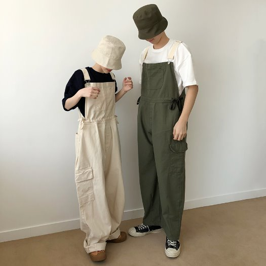Cargo string overall pants / 3color