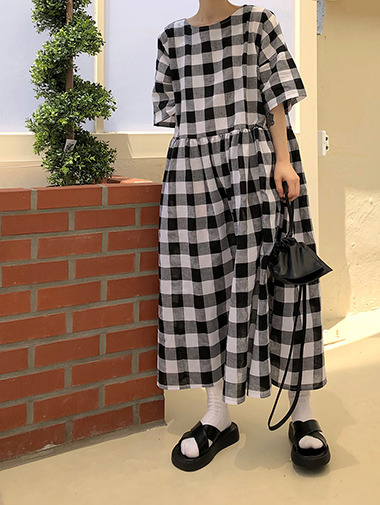 B Gingham check ops / 2color