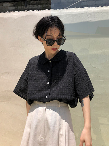 Glam check round blouse / 2color