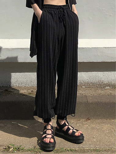 Linen stripe wide pants / 2color