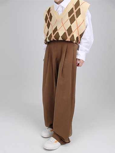Autumn Pintuck wide slacks / 3color