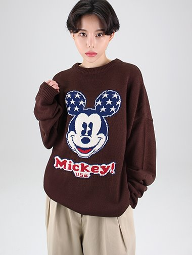 [unisex] Mickey star loose-fit knit / 4color
