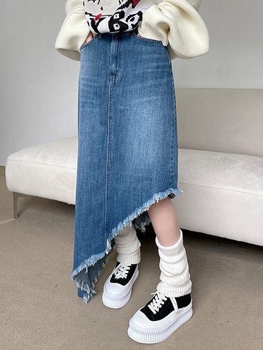 Unbal denim long skirt / 2color