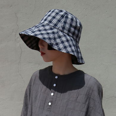 check big bucket hat - navy