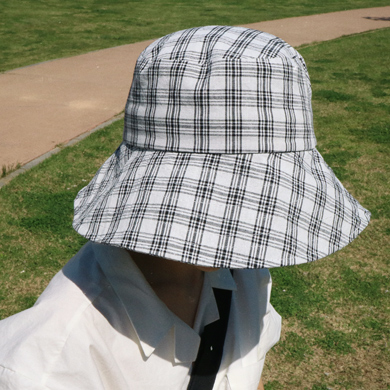 check big bucket hat - ivory
