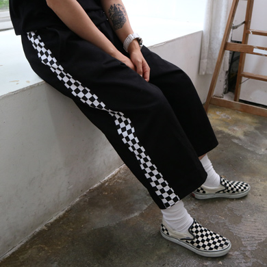 check line wide pants - 2type