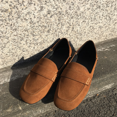 suede flat loafer - 4color