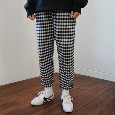 (unisex) gingham check banding pants
