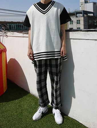 (unisex) check banding slacks - 3color