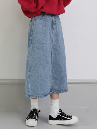 midi denim skirt - 2color