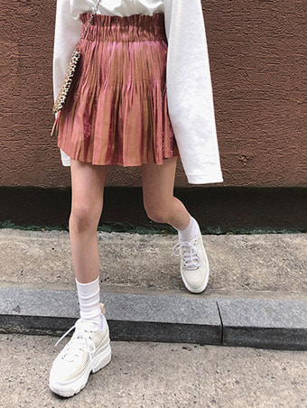 [자체제작] glitter pleats skirt - pink
