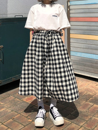 gingham check skirts - 3color