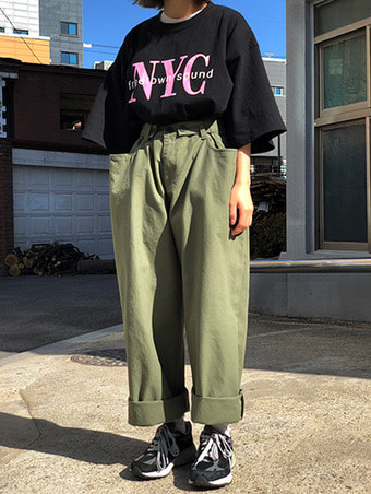 bizo cotton wide pants - 2color