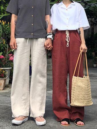 linen banding wide pants - 4color