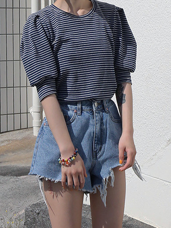 stripe puff top - 3color