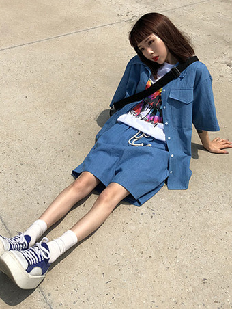 [unisex] denim wide shirts / 2color